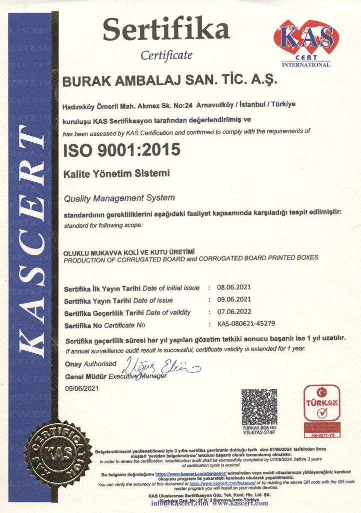 Burak Ambalaj ISO9001 Oluklu Mukavva